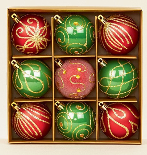 Premier Lot de 9 boules de Noël Rouge/vert 6 cm