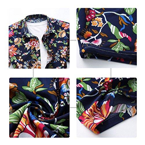 YOUTHUP Herren Sommerhemd Hawaiihemd Kurzarm Hemd Blatthemd Freizeit Hemd Besonders für Reise Urlaub Design 7