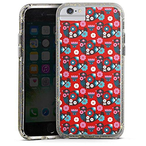 Apple iPhone 6 Bumper Hülle Bumper Case Glitzer Hülle Vogel Bird Flowers Bumper Case Glitzer gold