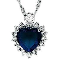 Rizilia OCEAN HEART Pendant with Chain & Heart Cut Gemstones CZ , Simple Modern Elegance