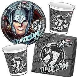 37piezas Party * Avengers Assemble Thor * con plato + taza + Servilletas + FIESTA/Cumpleaños/Niños Set Vajilla Decoración Niños Fiesta de cumpleaños fiesta temática temática Globos carpeta® Deko//Marvel Super Held Avengers