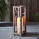 Lights4fun Holz Laterne mit LED Kerzen