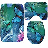 WANG-shunlida Lavendel Drucken DREI Stück Kombination Teppich Badewanne Wasser aufsaugen und Schleudern und Eindickung Kissen, Trompete, Schmetterling