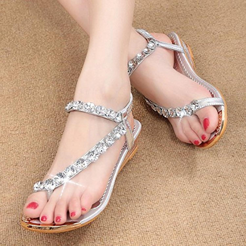 Dony Toe sandalias, Moda Artesanal de diamond Toe Toe sandalias, zapatillas y sandalias antideslizante,plateadas,36