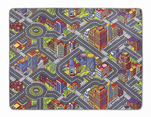andiamo Kinderteppich Game City Bunt, Teppich mit detailiertem Straßenmotiv, für Jungs und Mädchen, auch in Rund erhältlich, Größe:160 x 200 cm