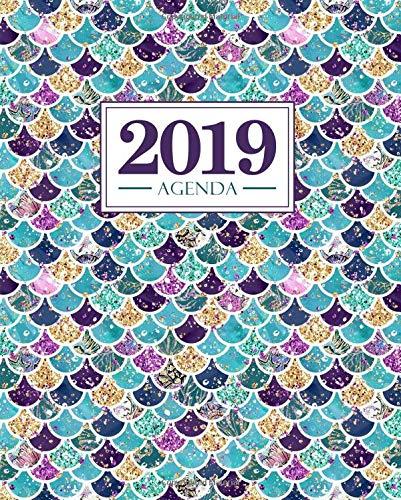 Agenda 2019: 190 x 235 mm : Agenda 2019 semana vista español : 160 g/m²: patrón de sirena morado y verde azulado 7238