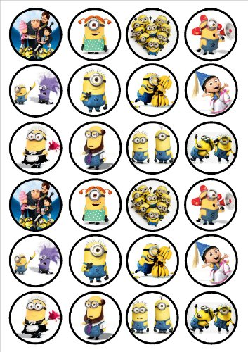 Despicable Me Minions Edible PREMIUM THICKNESS SWEETENED VANILLA,Wafer Rice Paper Cupcake Toppers/Decorations