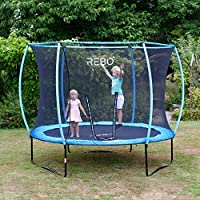 Rebo Jump Zone Garden Trampoline With Halo Safety Enclosure, Safety Net - 8FT