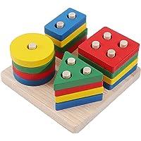 HilMe Jeu de tri et empilage en bois, formes géométriques, jouets pour les tout-petits, empilables de reconnaissance des…