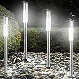 4x LED Solarleuchte Steckleuchte Gartenleuchte Solarlampe Gartenlampe mit Dämmerungssensor warmweiß Set