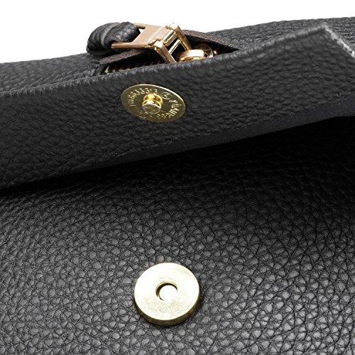 cooshional Damen Kleine Umhänge Tasche, Shulter Tasche aus Kunstleder, Crossbody Handtaschen für Damen Schwarz