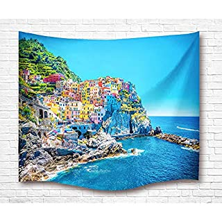 GUEQUITLEX Tapestry Wall Hanging Dolphin Sea Wave Surfing Home Living Tapestry Colored Printed Decorative Mandala Carpet (Mediterranean village, 80L X 60W Inches)