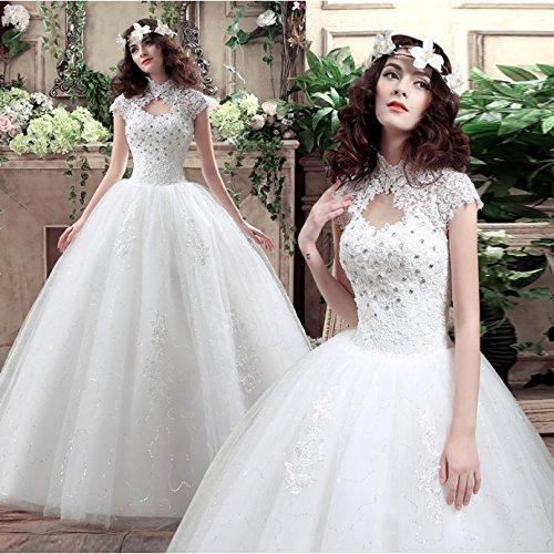 BOMOVO Damen Süßes Hochzeitskleid Trägerlos Organza Brautkleid Organza Satin Brautkleider Weiß