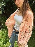 Cardigan oder Frühjahr-Sommer-Jacke-Herbst, sehr stilvoll, apricotfarben, handgestrickt, Größe M-L, für Frauen oder Mädchen