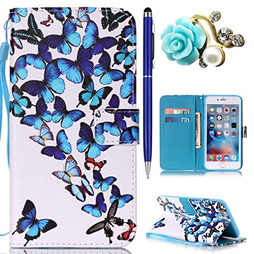 iPhone 6S Plus Hülle,iPhone 6 Plus Case,iPhone 6S Plus Cover - Felfy PU Ledertasche Strap Flip Standfunktion Magnetverschluss Luxe Bookstyle Ledertasche Nette Retro Mode Painted Muster Abdeckung Schut Schmetterlings-Gruppe