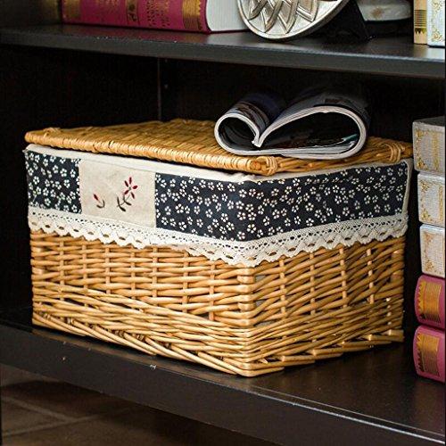 CHENGYI Gelb Blaue Blumen Quadratische Überdachung Wicker Vorbereitung Tuch Sammlung Korb Die Tabelle Von Kaffee Ist Set Up (Size : 43 * 31 * 24cm) -