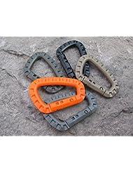 5x Mosquetones, uso al aire libre para mochila, escalada, senderismo, naranja