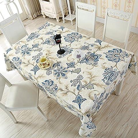 FLYRCX Modernes, minimalistisches Gewebe Wasserdichte Haushalt Tischdecken Tischsets Europäischen rechteckige Tischdecke, L, 150 x 150 (Blumen Plastiktischdecke)