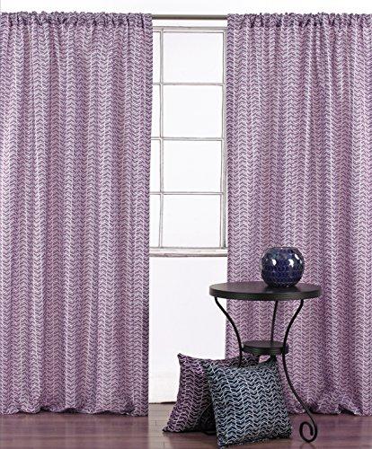 LJ Home Fashions Geometrische Ösen Zigzag 2-teilige Steckrute Pocket Vorhang Paar, 132x 241cm, Violett/Weiß