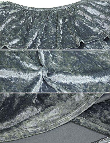 MODETREND Damen Samt Kleid Kurzkleid mit kurzen Ärmeln und Wohnung Schultern Schulterfrei Paket Hüfte Wickelkleid Sommerkleid Abendkleid Partykleid Cocktailkleid Grau