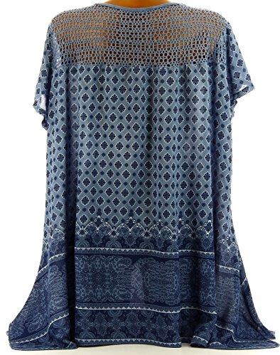 Charleselie94® - Tunique dentelle grande taille bohème ethnique bleu jean SARAH BLEU Bleu