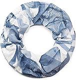 styleBREAKER Loop Schlauchschal mit asymetrischem Guilloche Muster im Destroyed Vintage Look, Schal, Tuch, Unisex 01017039, Farbe:Blau-Weiß
