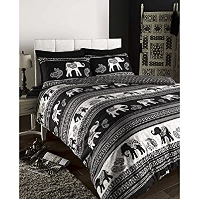 Empire Indian Elephant Animal Print Duvet Quilt Cover Bedding Set Black Elephants Indian Ethnic Reversible Duvet Quilt Cover Bedding Set