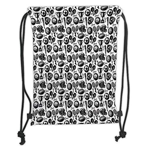 OQUYCZ Drawstring Sack Backpacks Bags,Sport,Monochrome Trophy Baseball Glove Ping Pong Ball Sketch Style Bat Tournament Inspired,Black White Soft Satin,5 Liter Capacity,Adjustable String Closu
