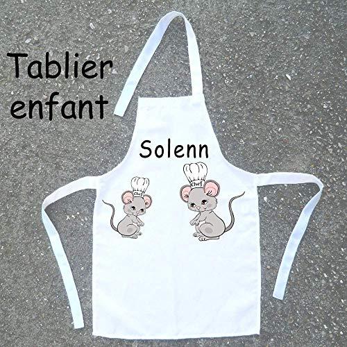 Tablier de cuisine enfant Souris à personnaliser avec un Prénom (ex. Solenn)