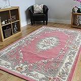 The Rug House 100% Wolle Babyrosa Schäbig-schick Traditionelles Aubusson-Design Teppich 7 Größen - Imperial