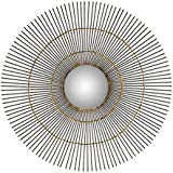 "Different Art Decorative Gold Finishing Round Iron Wall Mirror for Living Room (DAE2524_20"" X 1"" X 20"")"