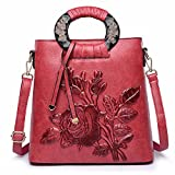 WanJiaMen'Shop Pack femmina vento nazionale tridimensionale spalla singolo croce obliqua borsa borsetta, rosso