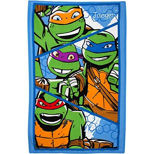 Personalisierte Namen Teenage Mutant Ninja Turtles L Super Soft Fleece Decke (Ninja Name Blue Turtle)