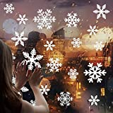 Cusfull 108 Unidades Pegatina de Ventanas Autoadhesiva Cristal Navidad Hojas Decorativas - Copos de Nieve Blancos