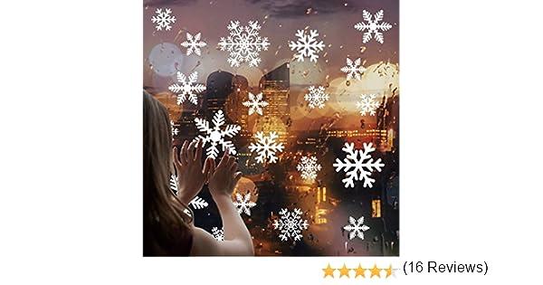 Deco Noel Salon Vitrine de Chambre CUSFULL 108 Pcs Stickers No/ël Flocons de Neige Blanche Amovible D/écoration pour Mural Vitre Fen/être