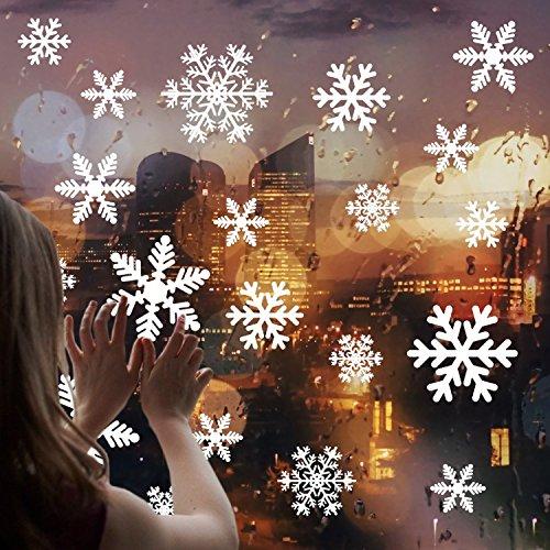 Cusfull 108 Stück weiße Schneeflocken Fenster Aufkleber Weihnachten Fensterdeko elektrostatischer Aufkleber Winter Ornamente Party Deko (Fenster Schneeflocke Aufkleber)