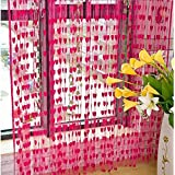 Ramcha Heart 2 Piece Polyester String Door Curtain Set - 6.5ft, Pink