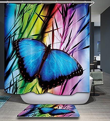 Kisy élégant Papillon Feuilles Tissu de bain Rideau de douche anti Moule hydrofuge à séchage rapide 180cm x 180cm pour salle de bain avec 12crochets de