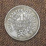 XDLiu Morgan Silber-Dollar/Alte Münze zum Sammeln von Silber-Dollar USA Old Original Pre Morgan Dollar Münzen, 1851, Einheitsgröße