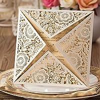 VStoy Goldene Einladungskarten, Lasergeschnitten, Für Hochzeit, Verlobung,  Geburtstag, Brautparty, Babyparty