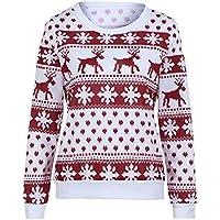 LEvifun Drucken Bluse Schulterfrei Tops Hemd Fröhliche Weihnachten Christmas Damen Kapuzenpullis Frauen Hemden Lose Pullover Mantel Sweatshirts Blusen Outerwear Kapuzenpullover