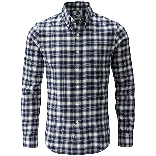 Charles Wilson Long Sleeve Plaid Flannel Shirt (Small, Cobalt)