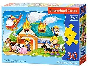 CASTORLAND Fire Brigade in Action 30 pcs Contour Puzzle 30 Pieza(s) - Rompecabezas (Contour Puzzle, Dibujos, Niños, Niño/niña, 4 año(s), Interior)