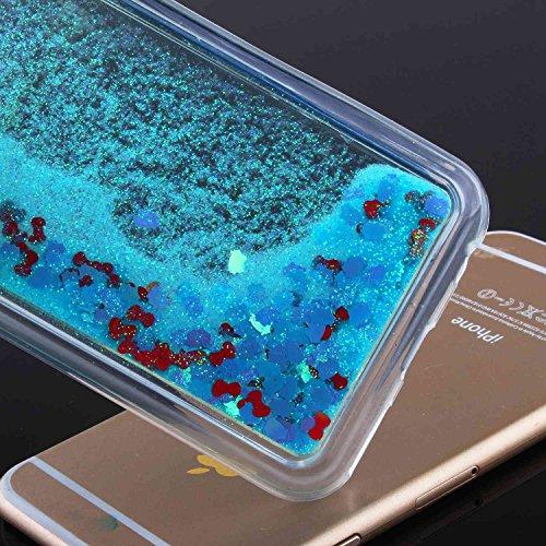 TOYYM - Cover per iPhone 7, ultra sottile, trasparente, con luccicanti cristalli liquidi, con strass, di lusso, morbido paraurti, 4,7 pollici, parte posteriore della cover con stelle e puntini scintil Blue