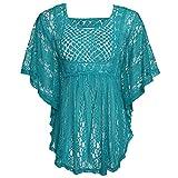 Trudge Damen Kurzarm T-Shirts Spitzenshirt Obertail Slim Fit Basic Shirt Tunika Tops (XL, D+Blau)