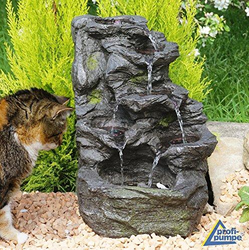 Fontana a cascata - fontana da interni - fontana decorativa - fontana da giardino - fontana da camera - fontana decorativa da interni - fontana per interni con 4 luci a led 230v