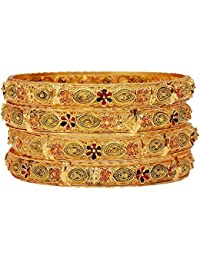 Aabhu Gold Plated Enamel Style Gold Plated Bangle Kada Set Jewellery For Women And Girl - B077Z7V9ZY