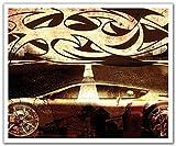 JP London schälen und Stick Abnehmbare Wandtattoo Aufkleber Wandbild, Tribal Hot Wheels Street Racing Tattoo, 24von 19.75-inch