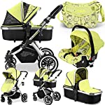 iVogue - Pear Luxury 3in1 Pram Stroller Travel System by iSafe + CarSeat+Changing Bag