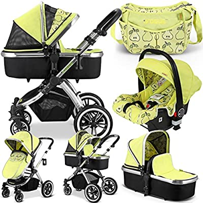 iVogue - Pear Luxury 3in1 Pram Stroller Travel System by iSafe + CarSeat+Changing Bag  Maclaren UK Baby